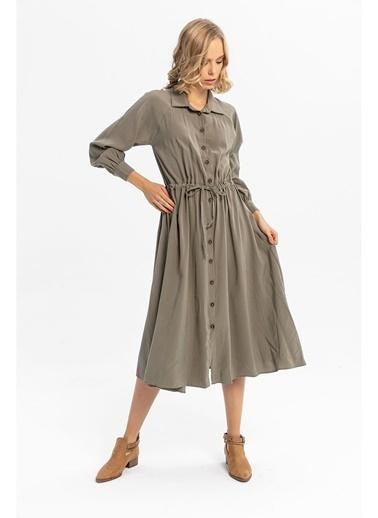Tiffany&Tomato Beli Büzgülü Uzun Gömlek Elbise-Tarçın Haki